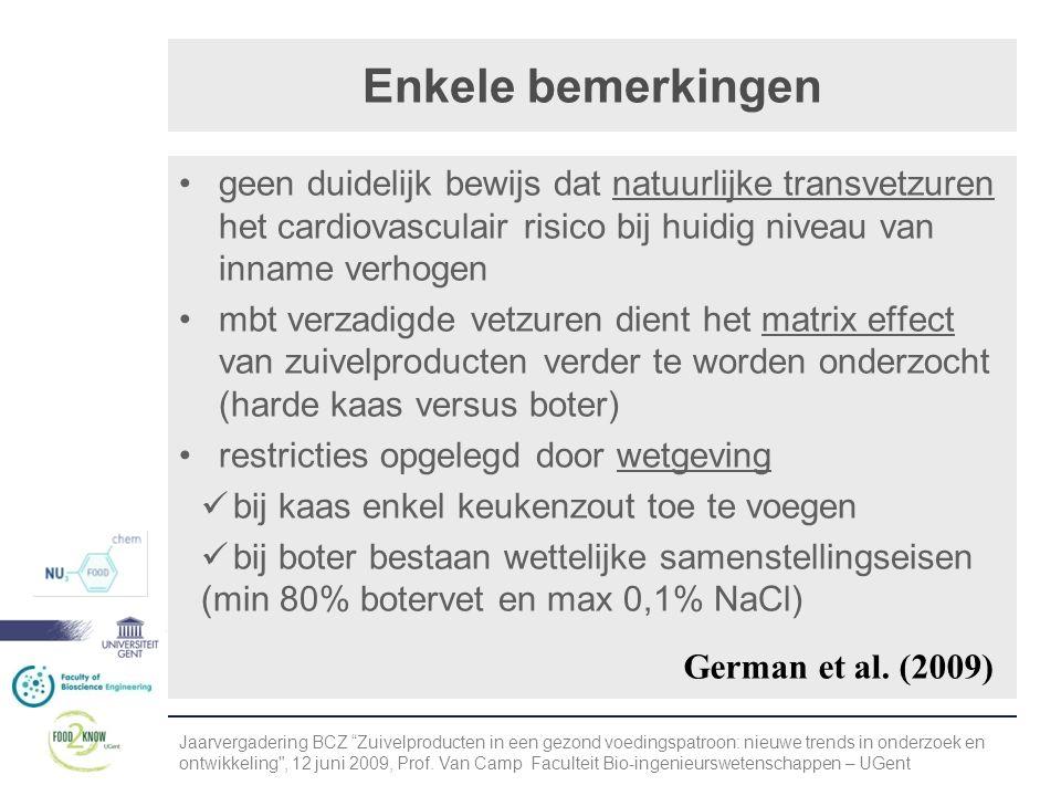 Enkele bemerkingen •geen duidelijk bewijs dat natuurlijke transvetzuren het cardiovasculair risico bij huidig niveau van inname verhogen •mbt verzadigde vetzuren dient het matrix effect van zuivelproducten verder te worden onderzocht (harde kaas versus boter) •restricties opgelegd door wetgeving  bij kaas enkel keukenzout toe te voegen  bij boter bestaan wettelijke samenstellingseisen (min 80% botervet en max 0,1% NaCl) Jaarvergadering BCZ Zuivelproducten in een gezond voedingspatroon: nieuwe trends in onderzoek en ontwikkeling , 12 juni 2009, Prof.