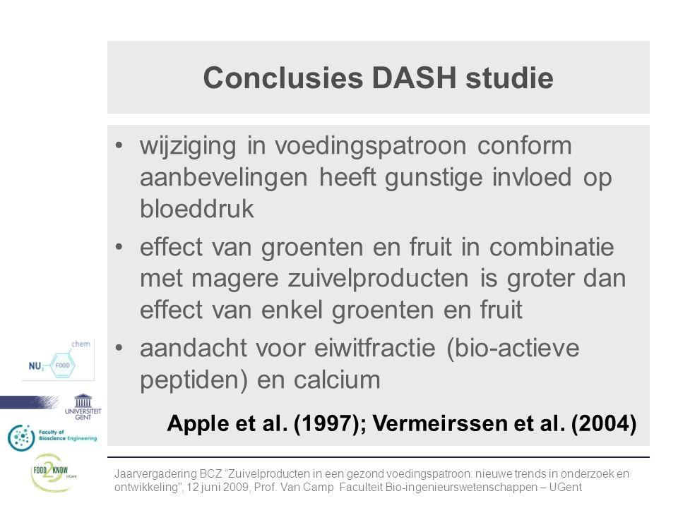 Conclusies DASH studie •wijziging in voedingspatroon conform aanbevelingen heeft gunstige invloed op bloeddruk •effect van groenten en fruit in combinatie met magere zuivelproducten is groter dan effect van enkel groenten en fruit •aandacht voor eiwitfractie (bio-actieve peptiden) en calcium Apple et al.