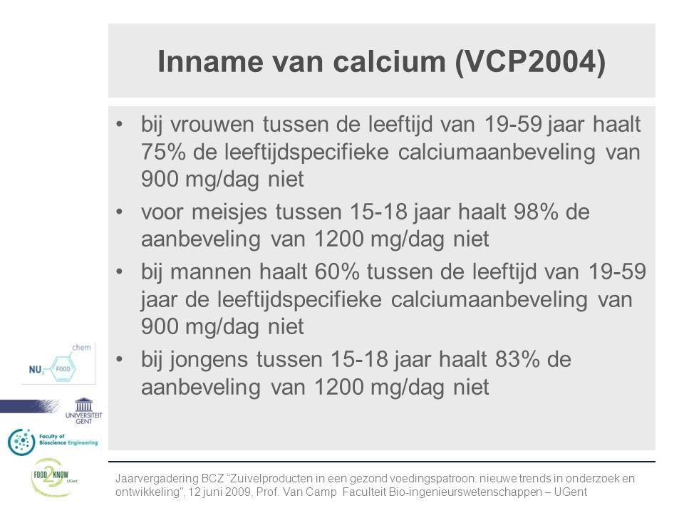 Inname van calcium (VCP2004) •bij vrouwen tussen de leeftijd van 19-59 jaar haalt 75% de leeftijdspecifieke calciumaanbeveling van 900 mg/dag niet •voor meisjes tussen 15-18 jaar haalt 98% de aanbeveling van 1200 mg/dag niet •bij mannen haalt 60% tussen de leeftijd van 19-59 jaar de leeftijdspecifieke calciumaanbeveling van 900 mg/dag niet •bij jongens tussen 15-18 jaar haalt 83% de aanbeveling van 1200 mg/dag niet Jaarvergadering BCZ Zuivelproducten in een gezond voedingspatroon: nieuwe trends in onderzoek en ontwikkeling , 12 juni 2009, Prof.