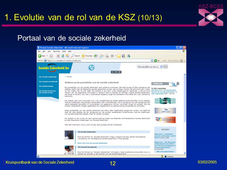 12 KSZ-BCSS 03/02/2005 Kruispuntbank van de Sociale Zekerheid 1.