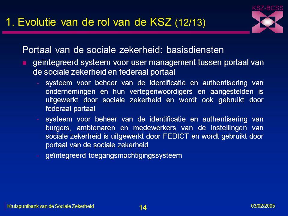 14 KSZ-BCSS 03/02/2005 Kruispuntbank van de Sociale Zekerheid 1.