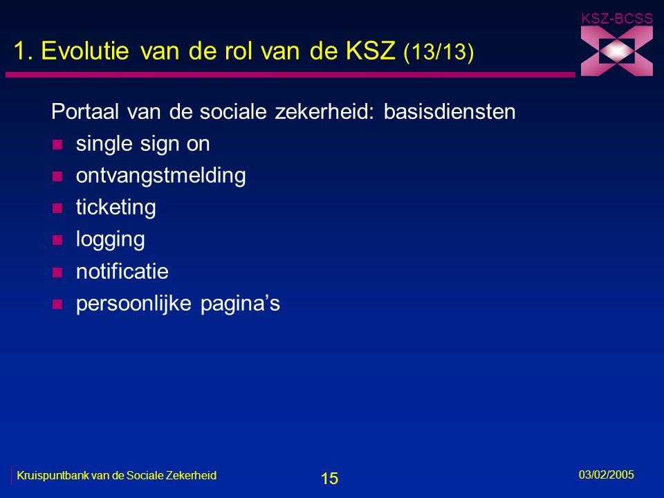 15 KSZ-BCSS 03/02/2005 Kruispuntbank van de Sociale Zekerheid 1.