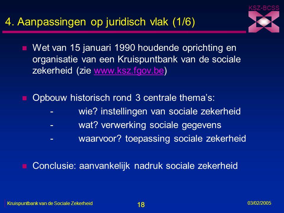 18 KSZ-BCSS 03/02/2005 Kruispuntbank van de Sociale Zekerheid 4.
