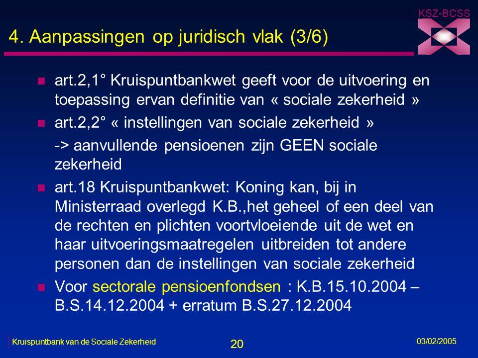 20 KSZ-BCSS 03/02/2005 Kruispuntbank van de Sociale Zekerheid 4.