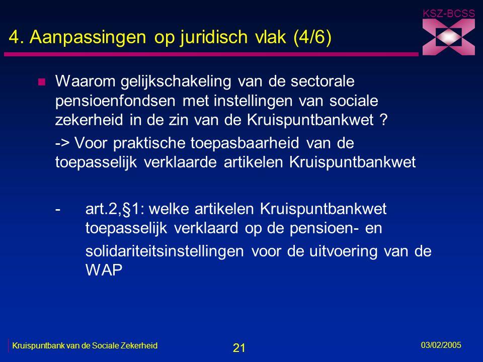 21 KSZ-BCSS 03/02/2005 Kruispuntbank van de Sociale Zekerheid 4.