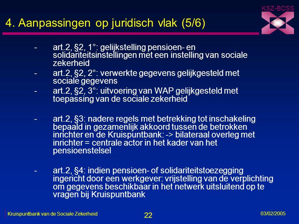 22 KSZ-BCSS 03/02/2005 Kruispuntbank van de Sociale Zekerheid 4.