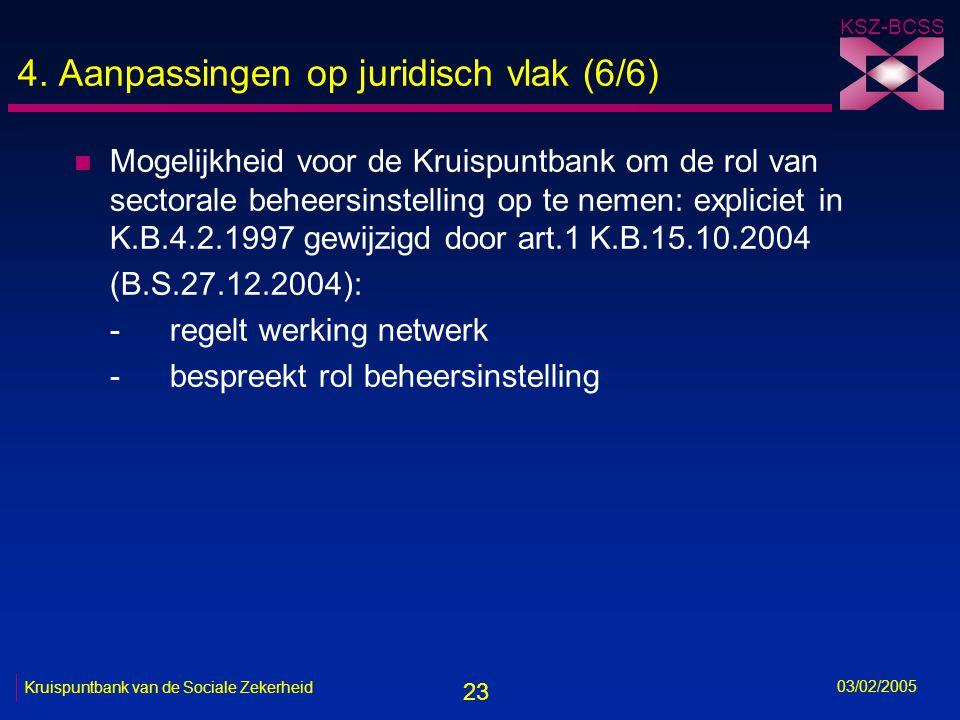 23 KSZ-BCSS 03/02/2005 Kruispuntbank van de Sociale Zekerheid 4.