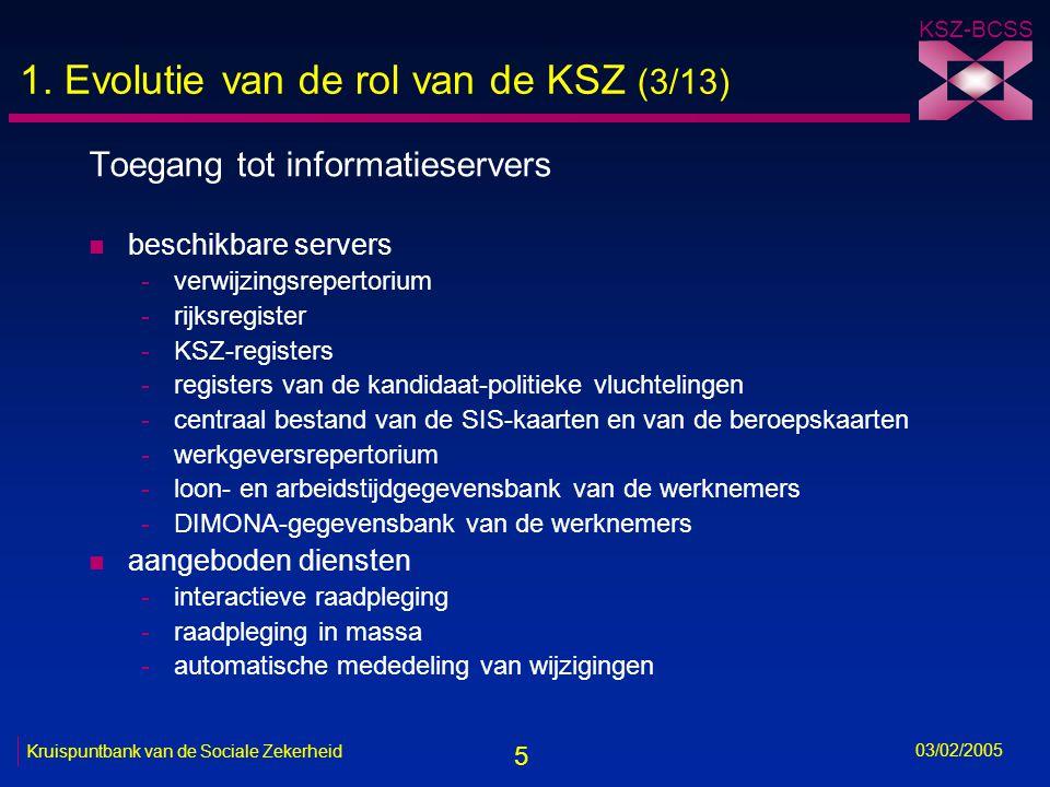 5 KSZ-BCSS 03/02/2005 Kruispuntbank van de Sociale Zekerheid 1.