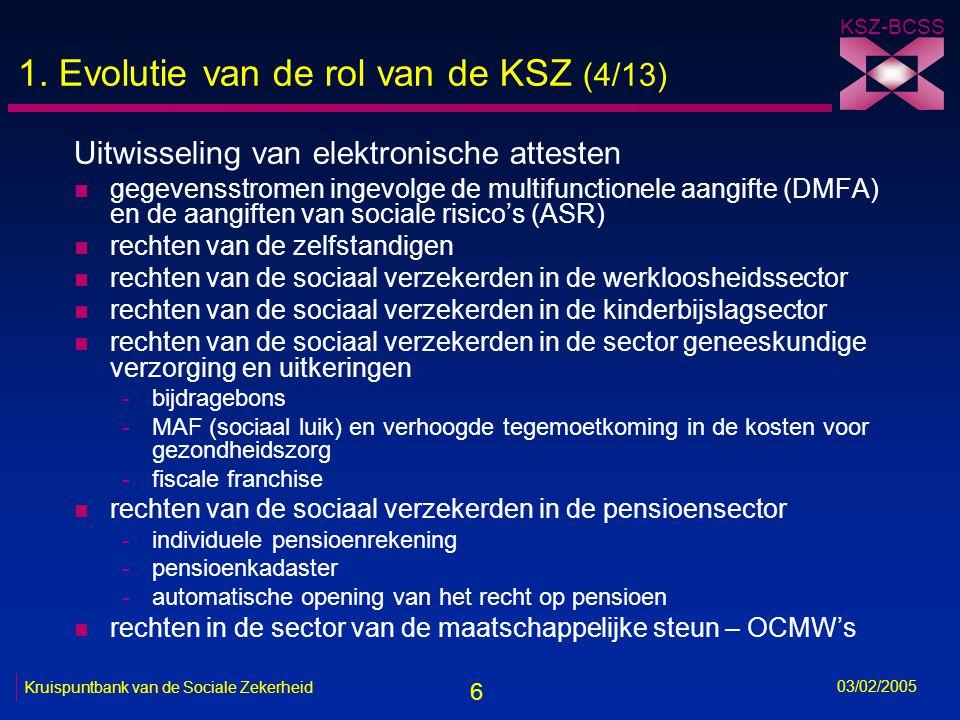 6 KSZ-BCSS 03/02/2005 Kruispuntbank van de Sociale Zekerheid 1.