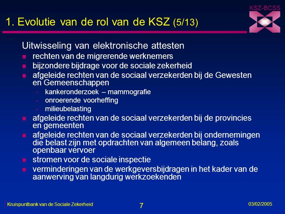 7 KSZ-BCSS 03/02/2005 Kruispuntbank van de Sociale Zekerheid 1.