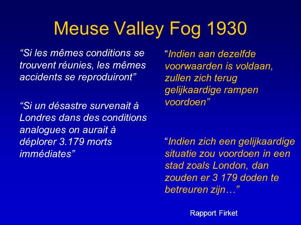 """Meuse Valley Fog 1930 """"Si les mêmes conditions se trouvent réunies, les mêmes accidents se reproduiront"""" """"Si un désastre survenait à Londres dans des"""