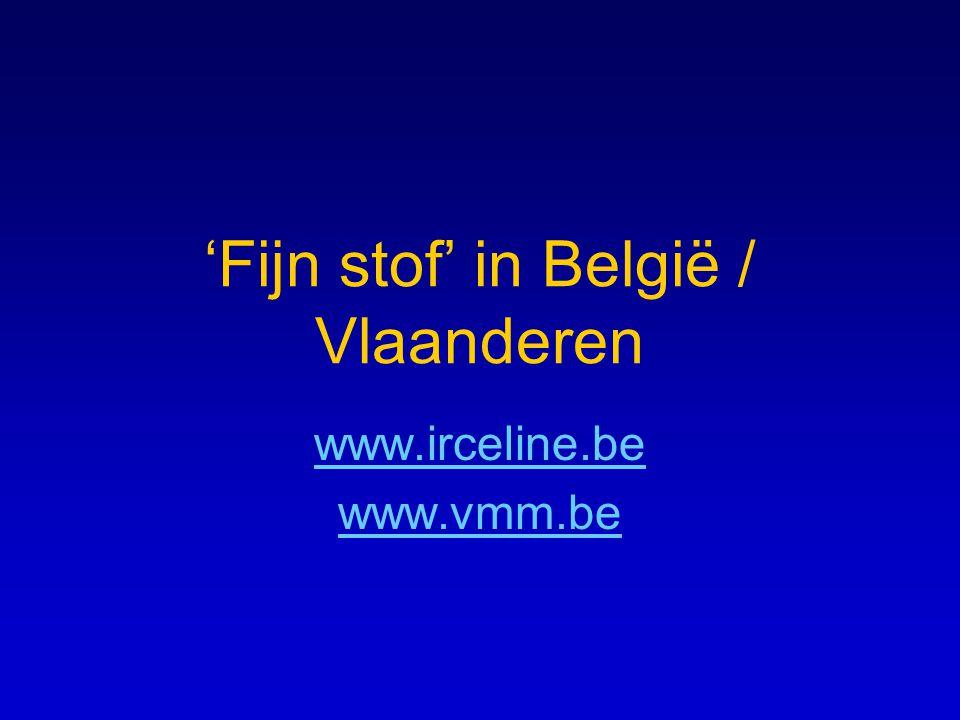 'Fijn stof' in België / Vlaanderen www.irceline.be www.vmm.be