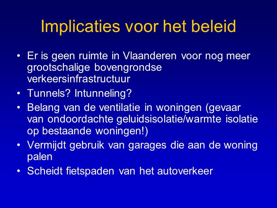 Implicaties voor het beleid •Er is geen ruimte in Vlaanderen voor nog meer grootschalige bovengrondse verkeersinfrastructuur •Tunnels? Intunneling? •B