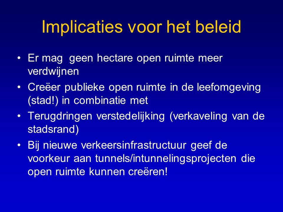 Implicaties voor het beleid •Er mag geen hectare open ruimte meer verdwijnen •Creëer publieke open ruimte in de leefomgeving (stad!) in combinatie met