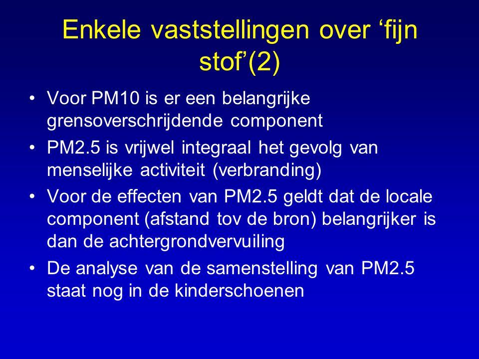 Enkele vaststellingen over 'fijn stof'(2) •Voor PM10 is er een belangrijke grensoverschrijdende component •PM2.5 is vrijwel integraal het gevolg van m