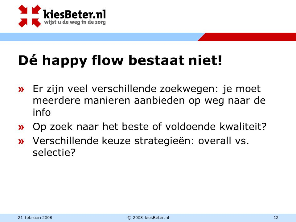 21 februari 2008© 2008 kiesBeter.nl12 Dé happy flow bestaat niet! » Er zijn veel verschillende zoekwegen: je moet meerdere manieren aanbieden op weg n