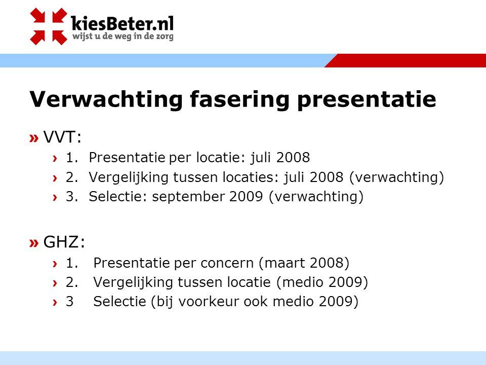 Verwachting fasering presentatie » VVT: › 1. Presentatie per locatie: juli 2008 › 2. Vergelijking tussen locaties: juli 2008 (verwachting) › 3. Select