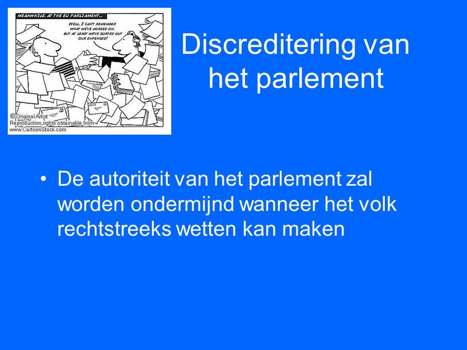 Discreditering van het parlement •De autoriteit van het parlement zal worden ondermijnd wanneer het volk rechtstreeks wetten kan maken