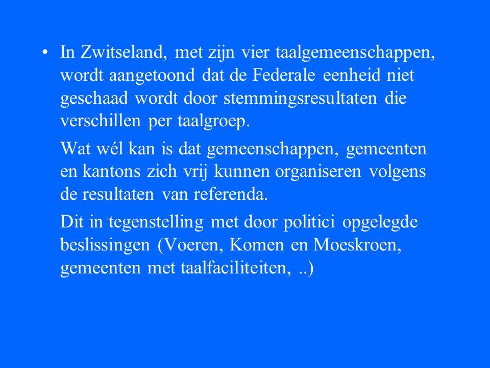 •In Zwitseland, met zijn vier taalgemeenschappen, wordt aangetoond dat de Federale eenheid niet geschaad wordt door stemmingsresultaten die verschille