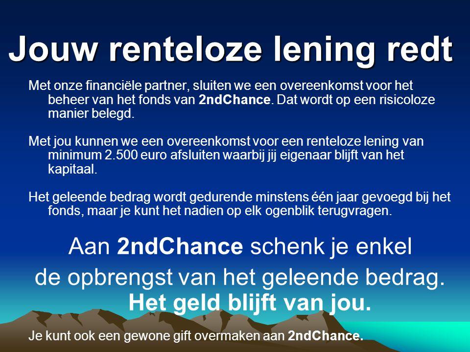Jouw renteloze lening redt Met onze financiële partner, sluiten we een overeenkomst voor het beheer van het fonds van 2ndChance.