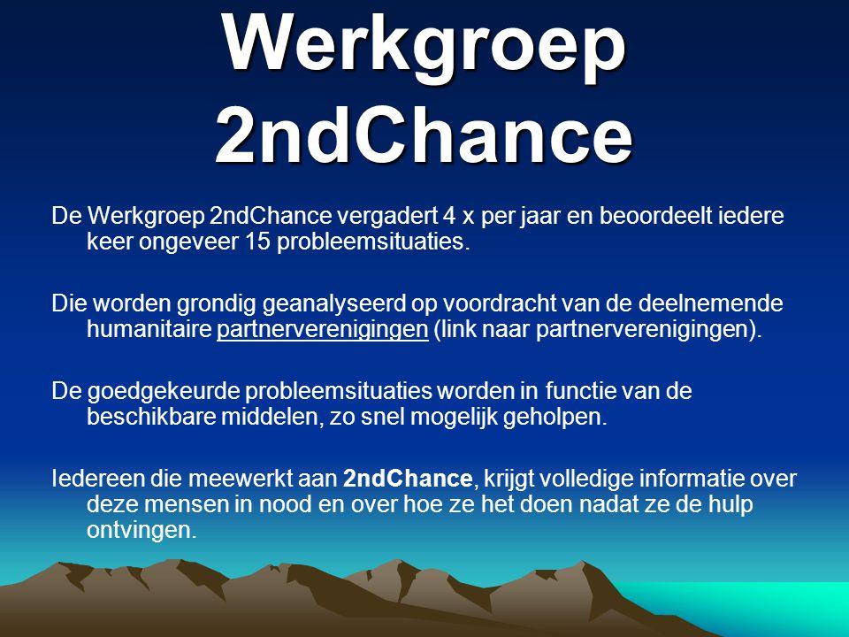 Werkgroep 2ndChance De Werkgroep 2ndChance vergadert 4 x per jaar en beoordeelt iedere keer ongeveer 15 probleemsituaties.