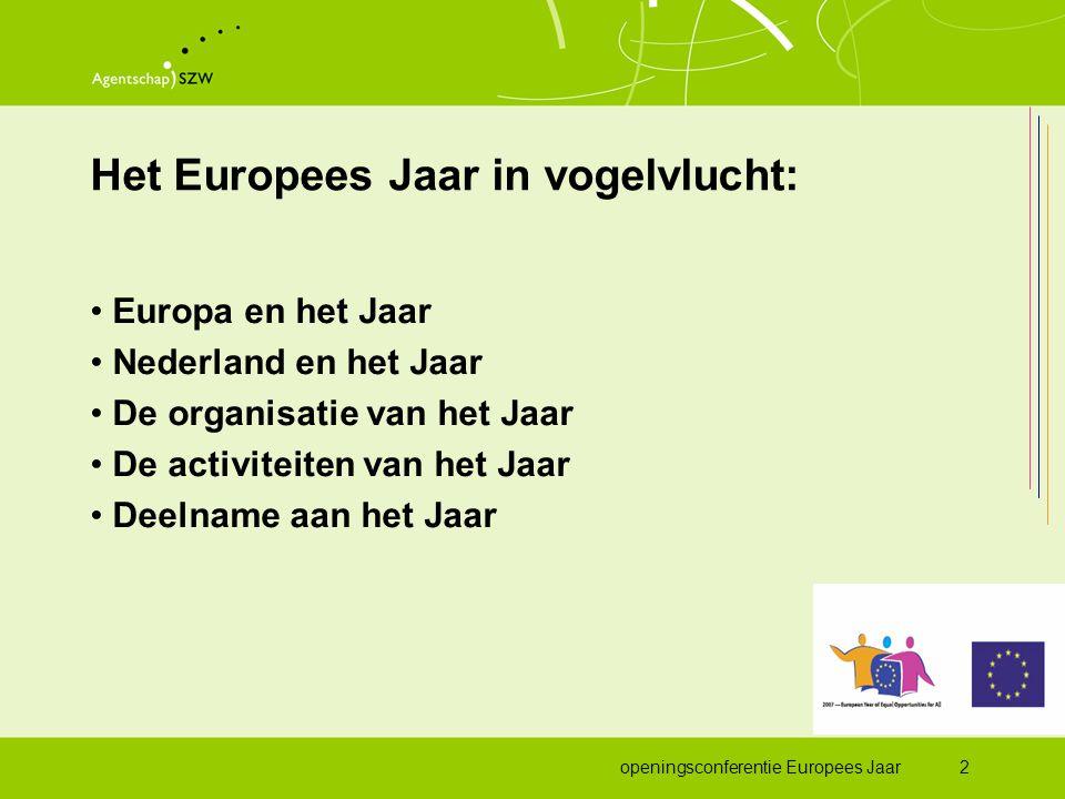 openingsconferentie Europees Jaar2 Het Europees Jaar in vogelvlucht: •Europa en het Jaar •Nederland en het Jaar •De organisatie van het Jaar •De activiteiten van het Jaar •Deelname aan het Jaar
