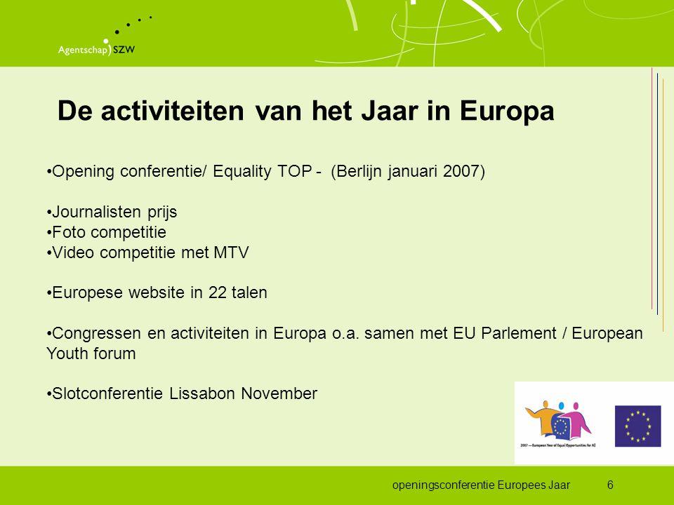 openingsconferentie Europees Jaar7 Nederland en het Jaar Doelstelling voor Nederland: •Kennis en bewustwording op het gebied van wetgeving en infrastructuur gelijke behandeling vergroten •Benadrukken van de voordelen (en de noodzaak!) van diversiteit •Bekendheid geven aan bestaande en nieuwe initiatieven op terrein van gelijke behandeling en diversiteit •Focus op: arbeidsmarkt, buurt/wijk en jongeren