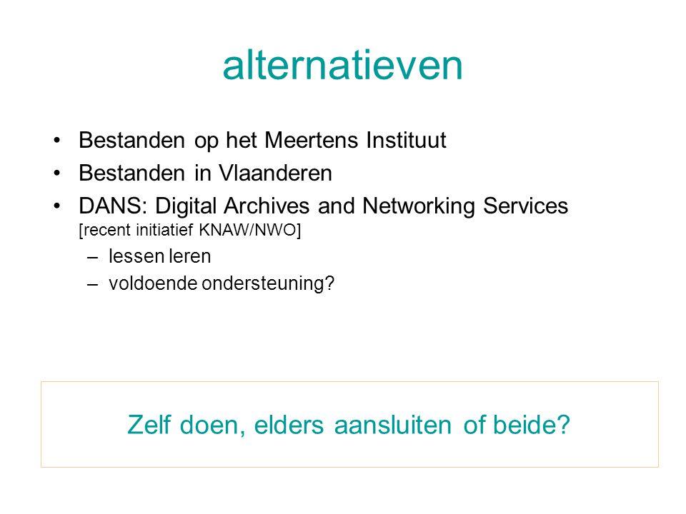 alternatieven Zelf doen, elders aansluiten of beide? •Bestanden op het Meertens Instituut •Bestanden in Vlaanderen •DANS: Digital Archives and Network