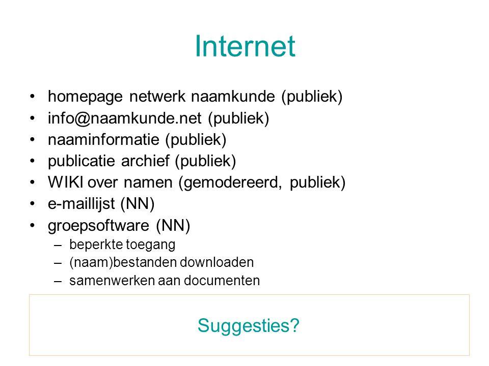 Internet •homepage netwerk naamkunde (publiek) •info@naamkunde.net (publiek) •naaminformatie (publiek) •publicatie archief (publiek) •WIKI over namen (gemodereerd, publiek) •e-maillijst (NN) •groepsoftware (NN) –beperkte toegang –(naam)bestanden downloaden –samenwerken aan documenten Suggesties?
