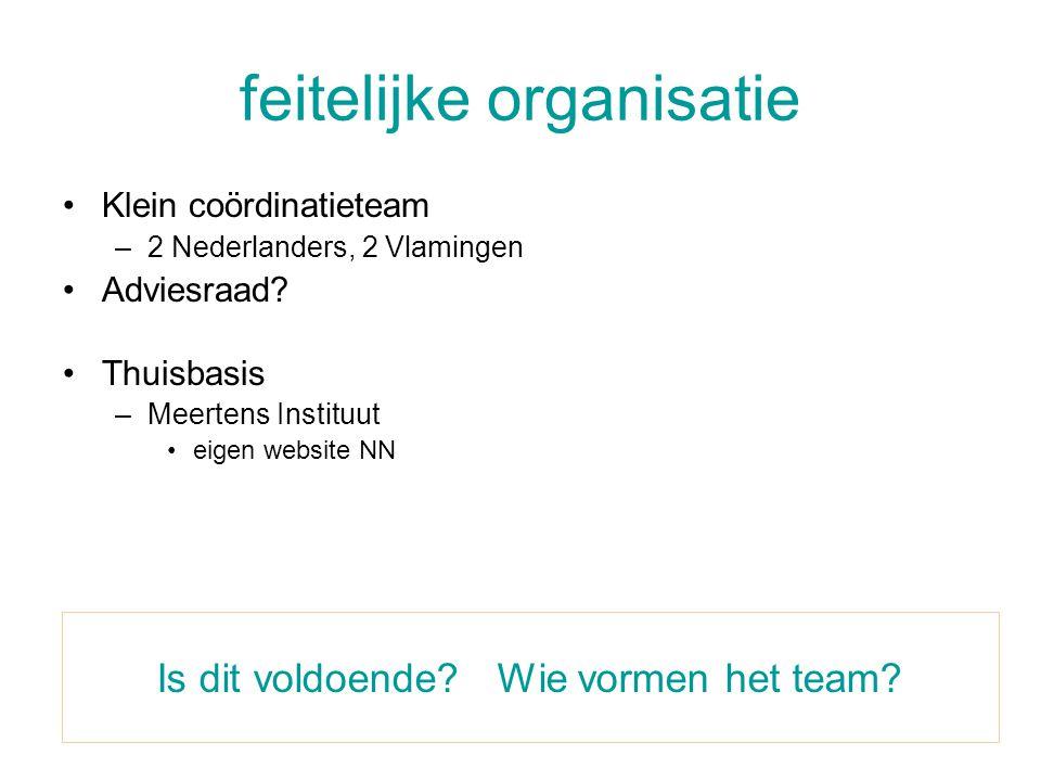 feitelijke organisatie •Klein coördinatieteam –2 Nederlanders, 2 Vlamingen •Adviesraad? •Thuisbasis –Meertens Instituut •eigen website NN Is dit voldo