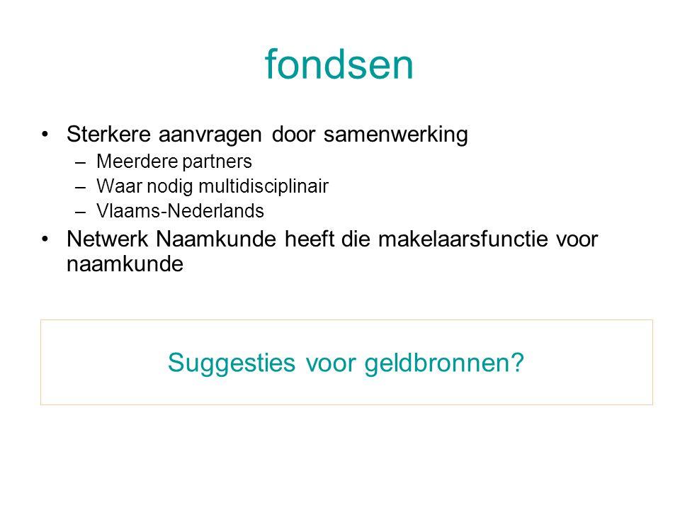fondsen •Sterkere aanvragen door samenwerking –Meerdere partners –Waar nodig multidisciplinair –Vlaams-Nederlands •Netwerk Naamkunde heeft die makelaarsfunctie voor naamkunde Suggesties voor geldbronnen?