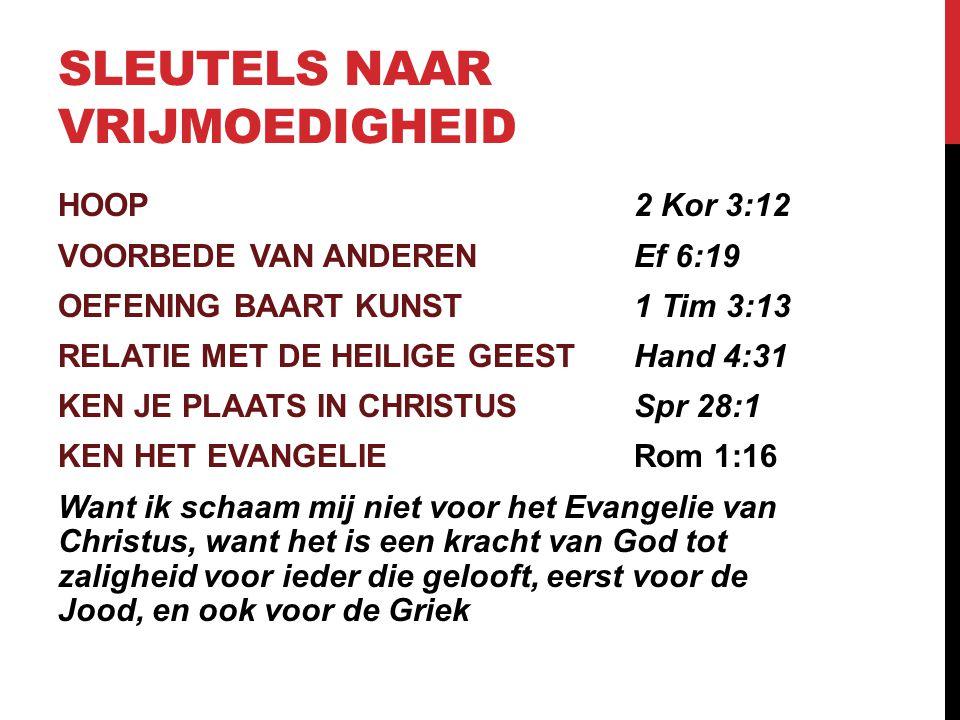 SLEUTELS NAAR VRIJMOEDIGHEID HOOP2 Kor 3:12 VOORBEDE VAN ANDERENEf 6:19 OEFENING BAART KUNST1 Tim 3:13 RELATIE MET DE HEILIGE GEESTHand 4:31 KEN JE PL