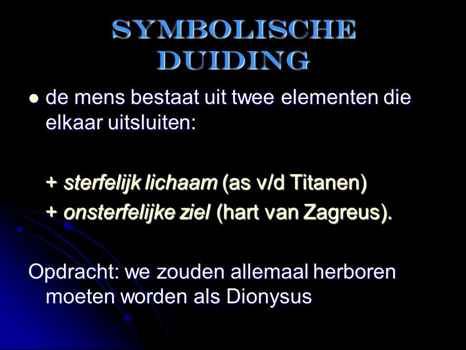 Symbolische duiding  de mens bestaat uit twee elementen die elkaar uitsluiten: + sterfelijk lichaam (as v/d Titanen) + sterfelijk lichaam (as v/d Tit
