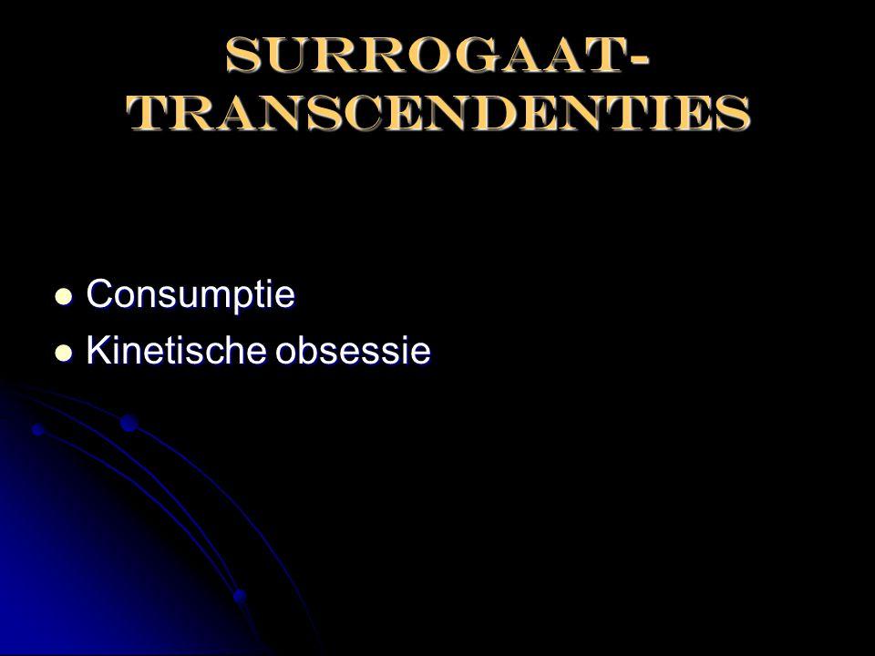 SURROGAAT- TRANSCENDENTIES  Consumptie  Kinetische obsessie
