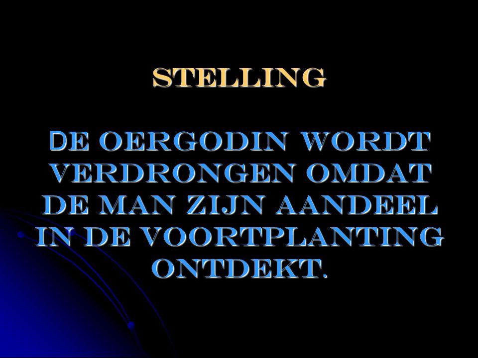 STELLING D e oergodin wordt verdrongen omdat de man zijn aandeel in de voortplanting ontdekt.