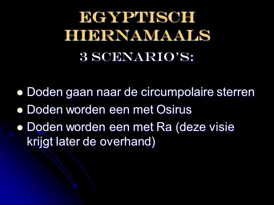 EGYPTISCH HIERNAMAALS 3 scenario's:  Doden gaan naar de circumpolaire sterren  Doden worden een met Osirus  Doden worden een met Ra (deze visie kri