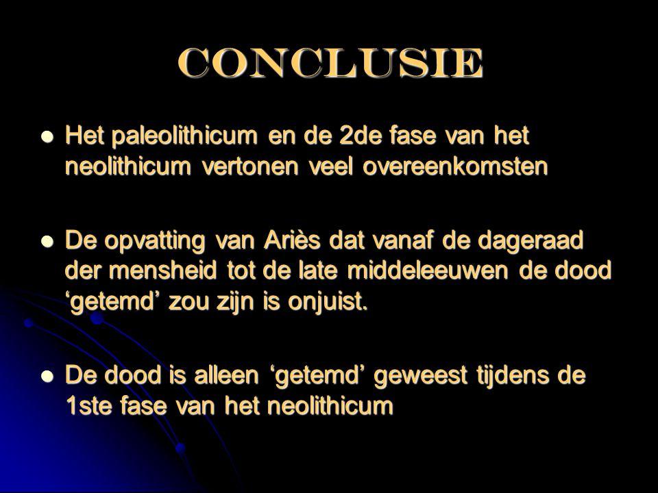 Conclusie  Het paleolithicum en de 2de fase van het neolithicum vertonen veel overeenkomsten  De opvatting van Ariès dat vanaf de dageraad der mensh