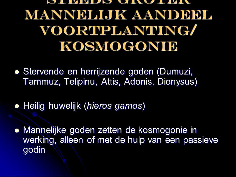 Steeds groter Mannelijk aandeel voortplanting/ kosmogonie  Stervende en herrijzende goden (Dumuzi, Tammuz, Telipinu, Attis, Adonis, Dionysus)  Heili