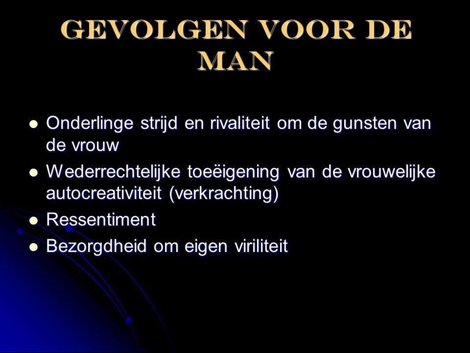 Gevolgen voor de man  Onderlinge strijd en rivaliteit om de gunsten van de vrouw  Wederrechtelijke toeëigening van de vrouwelijke autocreativiteit (