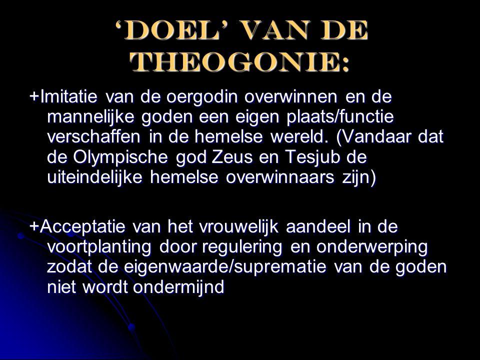 'DOEL' van de theogonie: +Imitatie van de oergodin overwinnen en de mannelijke goden een eigen plaats/functie verschaffen in de hemelse wereld. (Vanda