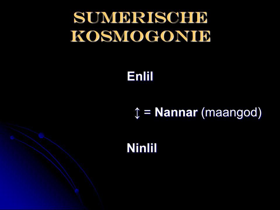 Sumerische kosmogonie Enlil ↕ = Nannar (maangod) ↕ = Nannar (maangod) Ninlil Ninlil