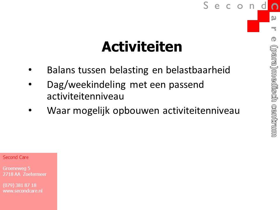 Activiteiten • Balans tussen belasting en belastbaarheid • Dag/weekindeling met een passend activiteitenniveau • Waar mogelijk opbouwen activiteitenni