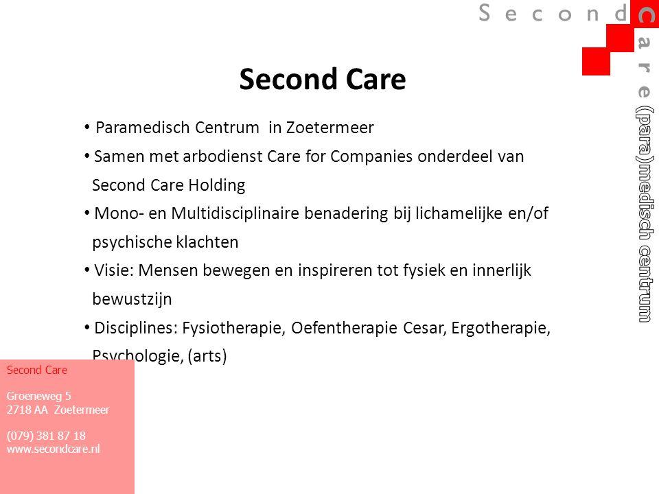 Second Care • Paramedisch Centrum in Zoetermeer • Samen met arbodienst Care for Companies onderdeel van Second Care Holding • Mono- en Multidisciplina