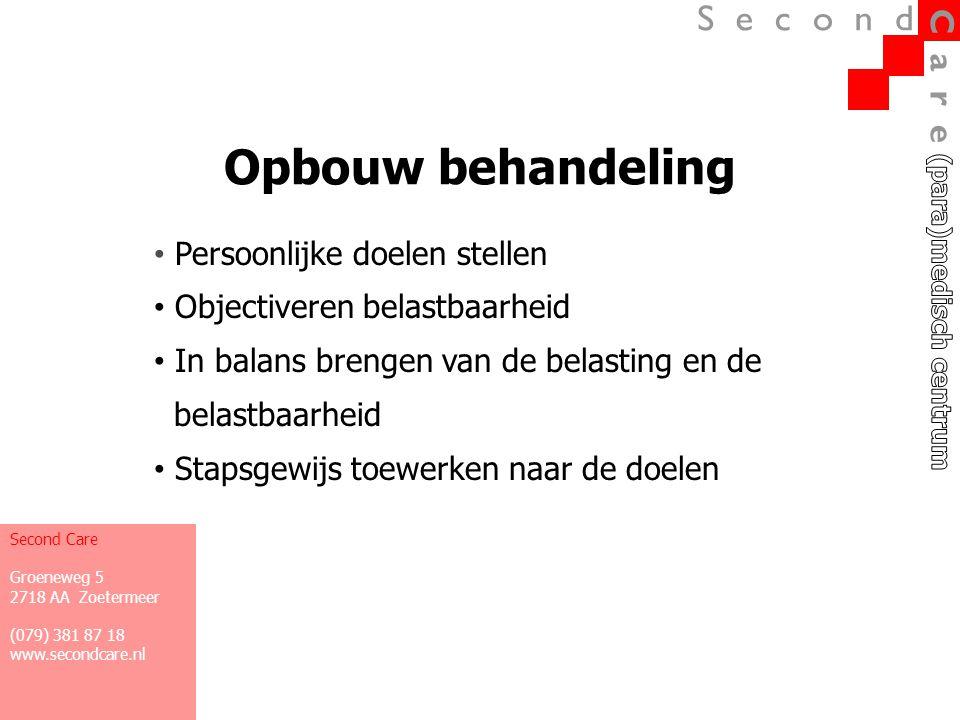 Multidisciplinaire behandeling Bewegen Ontspannen (in bewegen, denken en voelen/emotie) Activiteiten Second Care Groeneweg 5 2718 AA Zoetermeer (079) 381 87 18 www.secondcare.nl