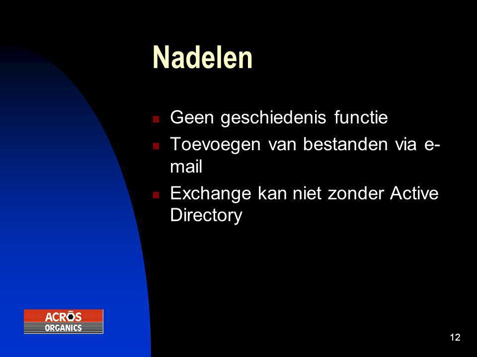 12 Nadelen  Geen geschiedenis functie  Toevoegen van bestanden via e- mail  Exchange kan niet zonder Active Directory