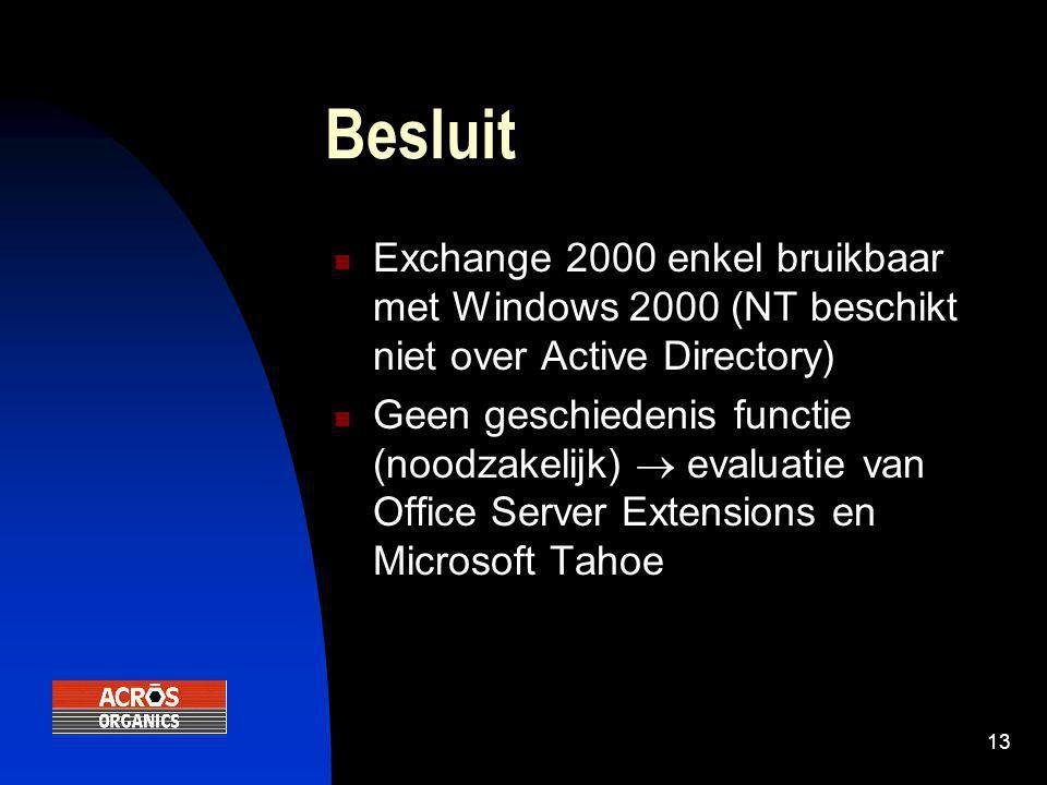 13 Besluit  Exchange 2000 enkel bruikbaar met Windows 2000 (NT beschikt niet over Active Directory)  Geen geschiedenis functie (noodzakelijk)  evaluatie van Office Server Extensions en Microsoft Tahoe