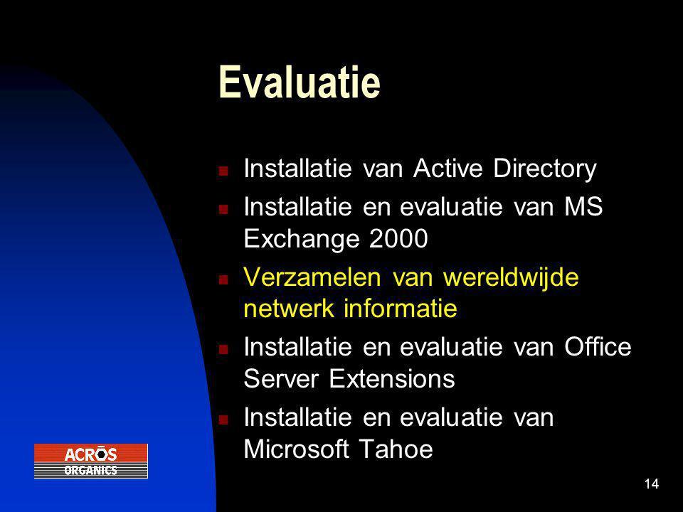 14 Evaluatie  Installatie van Active Directory  Installatie en evaluatie van MS Exchange 2000  Verzamelen van wereldwijde netwerk informatie  Installatie en evaluatie van Office Server Extensions  Installatie en evaluatie van Microsoft Tahoe
