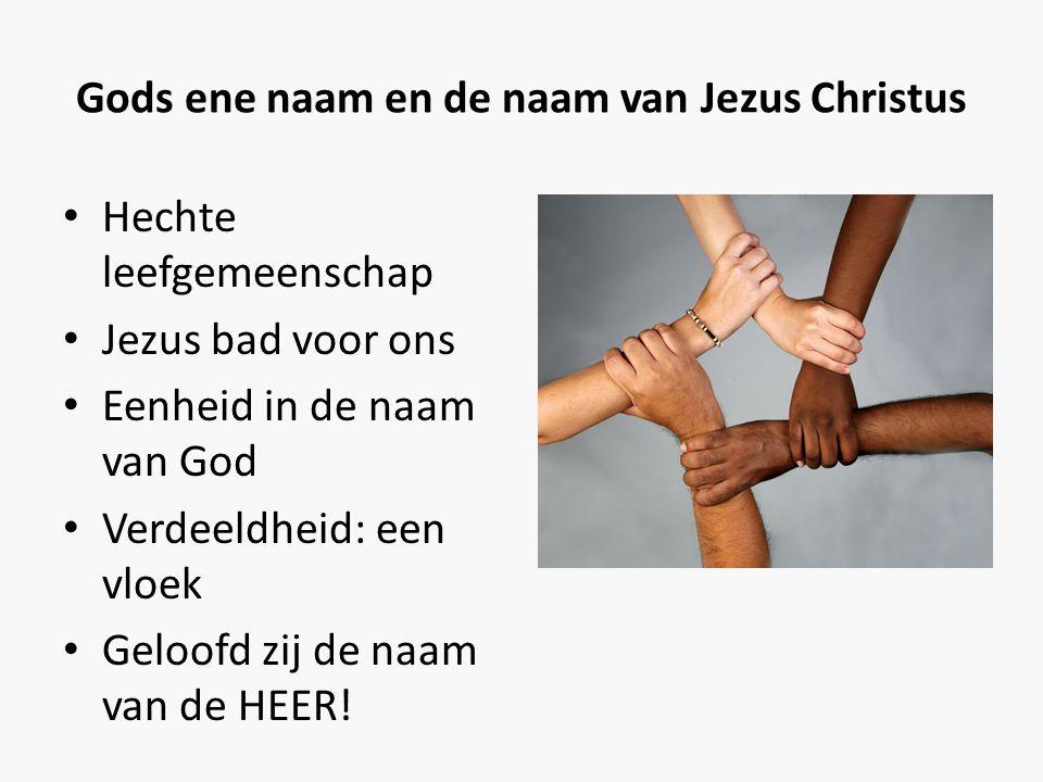 Gods ene naam en de naam van Jezus Christus • Hechte leefgemeenschap • Jezus bad voor ons • Eenheid in de naam van God • Verdeeldheid: een vloek • Gel