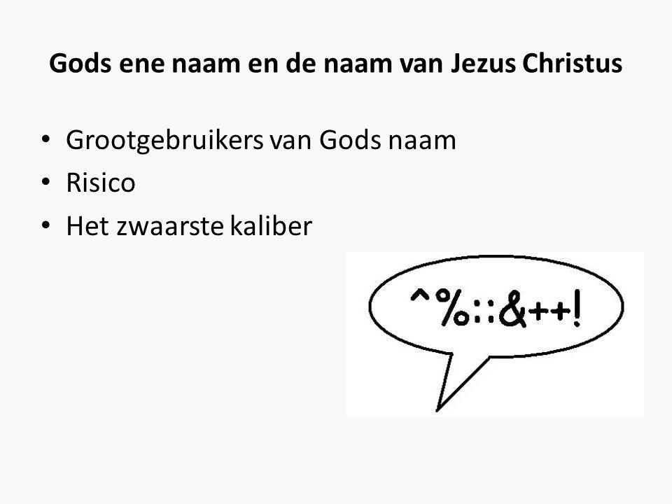 Gods ene naam en de naam van Jezus Christus • Grootgebruikers van Gods naam • Risico • Het zwaarste kaliber