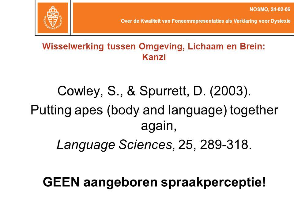 Picture from The Language Research Centre @ GSU Over de Kwaliteit van Foneemrepresentaties als Verklaring voor Dyslexie NOSMO, 24-02-06 Bates, E., Dick, F.